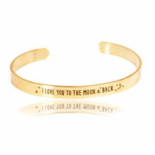 "Inspirational quote bracelet ""I love you to the moon and back"""