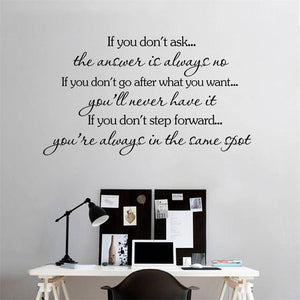 "Inspirational wall decal ""If you don't ask the answer is always no"" Motivating Quote Vinyl"