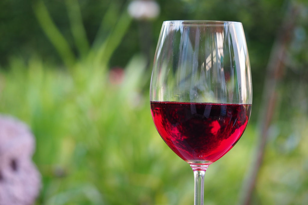 A glass of red vegan wine in a garden