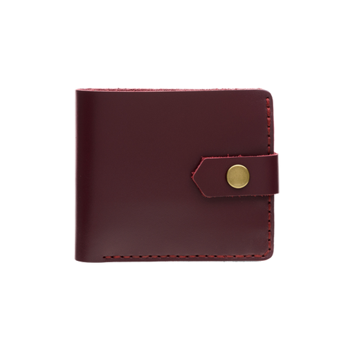 Bifold Leather Wallet [Glossy Marsala]