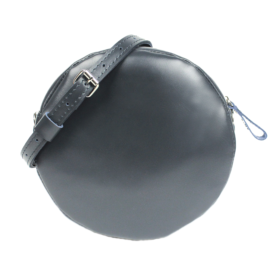 Glossy Blue Leather Circle Bag - Cantoneri