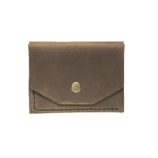 Brown Minimalistic Leather Cardholder - Cantoneri