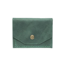 Green Minimalistic Leather Cardholder - Cantoneri