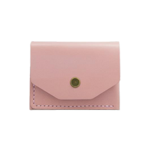 Glossy Pink Minimalistic Leather Cardholder - Cantoneri