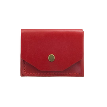 Glossy Red Minimalistic Leather Cardholder - Cantoneri