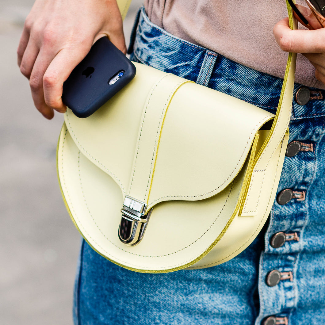Mini Yellow Leather Cross Body Bag with Buckle - Cantoneri