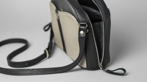Gray Leather Cross Body Bag - Cantoneri