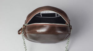 Glossy Marsala Leather Circle Bag - Cantoneri