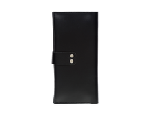 Women's Glossy Black Bifold Leather Wallet - 12 compartments [USA only] - Cantoneri