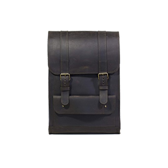 Dark Brown Leather Backpack with Strap Closures - Cantoneri