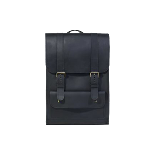 Black Leather Backpack with Strap Closures - Cantoneri