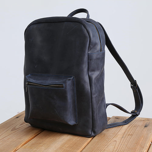 Handmade Blue Leather Backpack - Cantoneri