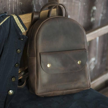 Stylish Mini Leather Backpack - Brown - Cantoneri