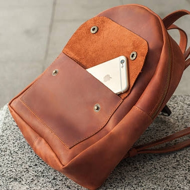 Stylish Mini Leather Backpack - Light Brown - Cantoneri