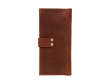 Women's Cognac Bifold Leather Wallet - 12 compartments - Cantoneri
