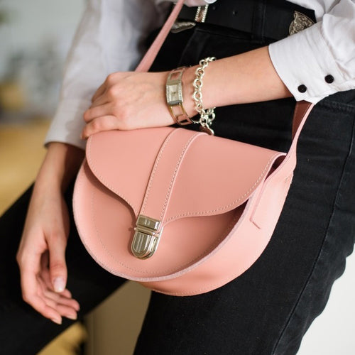 Mini Pink Leather Cross Body Bag with Buckle - Cantoneri