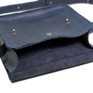 Small Cross Body Bag in Blue Genuine Leather - Cantoneri