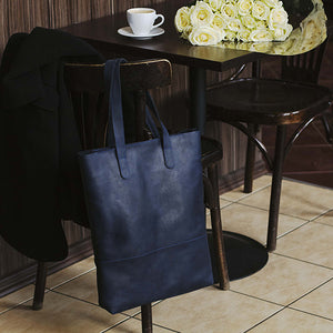 Blue Leather Shopping Bag - Cantoneri