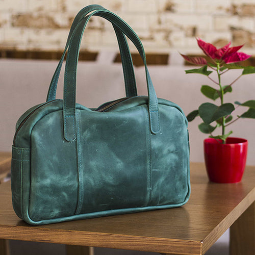 Women's Green Leather Handbag - Cantoneri