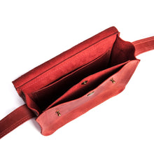 Small Cross Body Bag in Red Full Grain Leather - Cantoneri