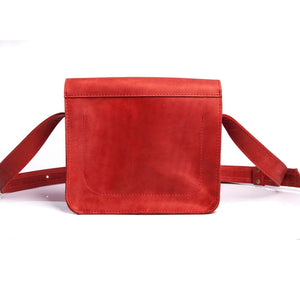 Small Cross Body Bag in Red Genuine Leather - Cantoneri