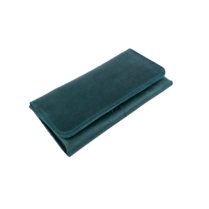 Women's Long Wallet in Dark Green Leather - Cantoneri