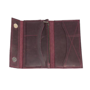 Men's Long Bifold Leather Wallet - Marsala - Cantoneri