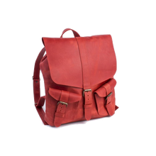 Large Designer Leather Backpack [Red] - Cantoneri