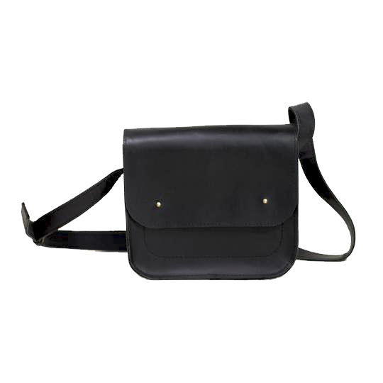 Small Cross Body Bag in Black Full Grain Leather - Cantoneri
