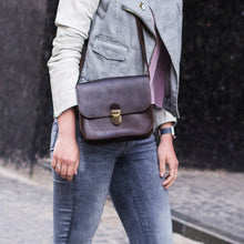 Small Brown Leather Cross Body Bag with Buckle - Cantoneri