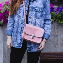 Small Pink Leather Cross Body Bag with Buckle - Cantoneri