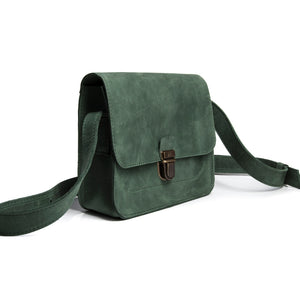 Small Green Leather Cross Body Bag with Buckle - Cantoneri