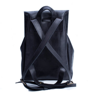 Women's Leather Mini Backpack [Black] - Cantoneri