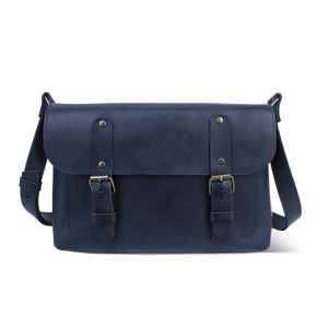 Full Grain Leather Cross Body Bag [Blue] - Cantoneri