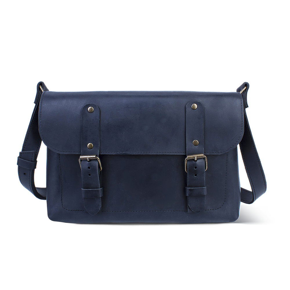 Genuine Leather Cross Body Bag [Blue] - Cantoneri