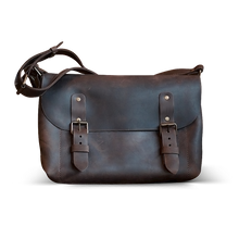 Genuine Leather Cross Body Bag - Dark Brown - Cantoneri