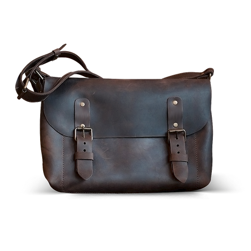 Full Grain Leather Cross Body Bag [Dark Brown] - Cantoneri