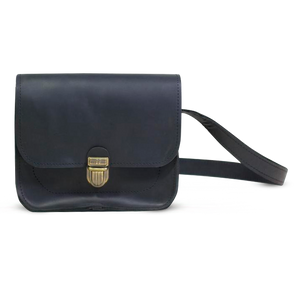 Small Black Leather Cross Body Bag with Buckle - Cantoneri