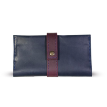 Women's Leather Long Wallet [Blue with Marsala] - Cantoneri
