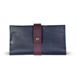 Handmade Women's Leather Long Wallet - Blue with Marsala - Cantoneri