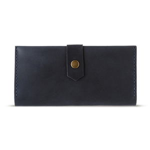 Women's Dark Blue Bifold Leather Wallet [USA only] - Cantoneri