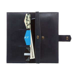 Women's Dark Blue Bifold Leather Wallet - Cantoneri