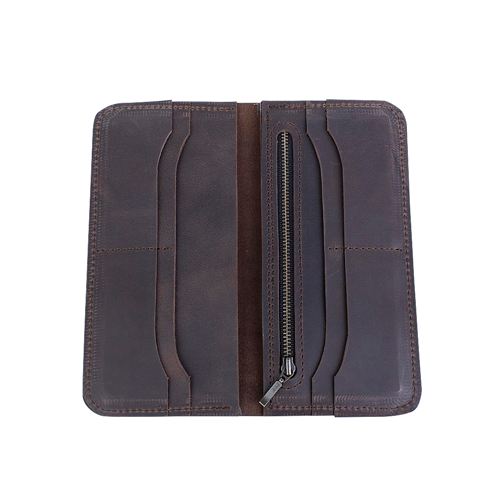 Women's Classic Long Brown Leather Wallet - Cantoneri