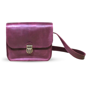 Small Leather Cross Body Bag with Buckle - Marsala - Cantoneri