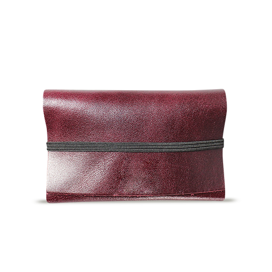Burgundy Leather Cardholder - Cantoneri