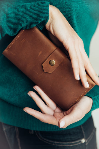 Bifold Cognac Leather Wallet for women - Cantoneri