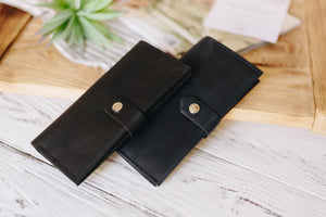 Women's Black Bifold Leather Wallet - 12 compartments - Cantoneri
