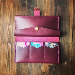 Women's Long Wallet in Glossy Leather [Marsala] - Cantoneri