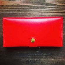 Women's Long Wallet in Glossy Red Leather - Cantoneri