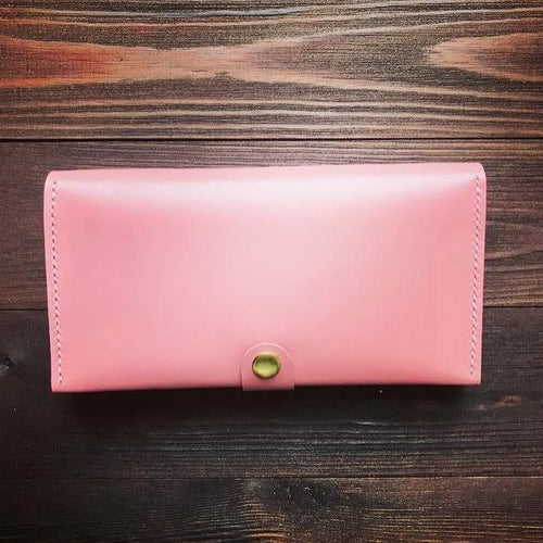 Women's Long Wallet in Glossy Pink Leather - Cantoneri
